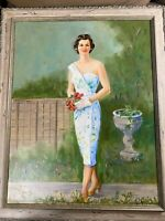 """Edith Maurice Bregy """"Portrait Of A Young Woman"""" Oil Painting - Signed/Framed"""