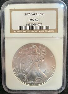 1997 $1 AMERICAN SILVER EAGLE S$1 NGC MS 69 073