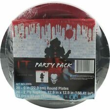 It Movie Pennywise Scary Clown Party Pack 20 Plates Napkins Halloween Birthday
