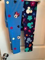 NEW LOT X2 LuLaRoe Disney Minnie Mickey OS Tween Polka Dot Blue Black Leggings