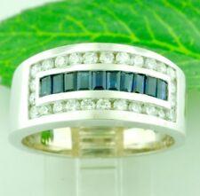 14k Solid White Gold Mens Men's Natural Diamond & Blue Sapphire Ring 1.80 ct
