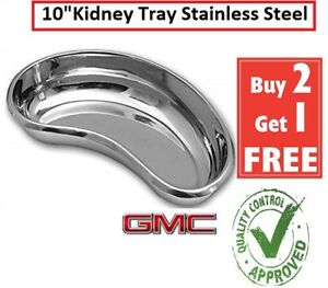 """Kidney Dish Tray Shaped Curved Dish Basin Stainless Steel Tray Surgical 10"""" inch"""