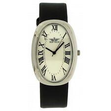 4fd616f31404 Softech Men s Silver Bezel Black PU Leather Strap Wrist Watch Analog Quartz
