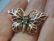 silver emerald ruby butterfly brooch