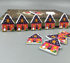 25pcs Christmas Wooden Buttons houses shape Sewing scrapbooking decoration 33m
