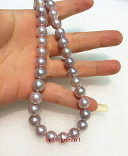 "AAAAA 18""9-10MM NATURAL round real south sea pink lavender pearl necklace 14K"