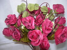2 Sets High Quality  Artificial Plant Rose Flower Dark  Pink  XY