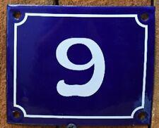 Vintage Style Blue Enamel Porcelain French House Number Door Steel Metal Sign 9