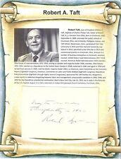 "Robert A. Taft Autograph Ohio Senator 1944  JFK ""Mr Republican"" Son of Pres Taft"