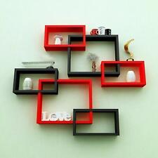 New Square Shape Wooden Multi-Color Wall Shelf Shelves Set Of 6 For Home Decor