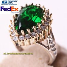 Turkish 925 Sterling Silver Hurrem Sultan Emerald Stone Ladies Ring All Size