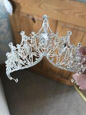 Silver Bride Tiara . Crystal Silver Tiara . 7 Cms Tall