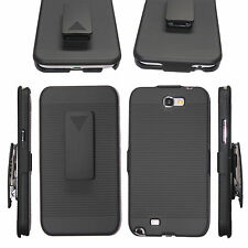 BLACK HARD RIBBED CASE & BELT CLIP HOLSTER STAND SAMSUNG GALAXY NOTE 2 II N7100