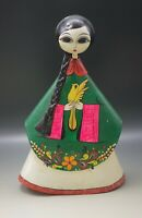 VINTAGE PAPER MACHE FOLK ART LARGE DOLL GIRL WITH DOVE SCULPTURE 14""