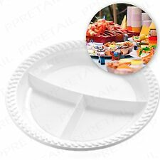100 x ROUND 3 SECTION WHITE PLASTIC PLATE Disposable Party/Wedding/BBQ Food Tray