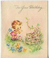 VINTAGE  CUTE GIRL PINK SHORTS OVERALLS BUNNY RABBIT BABY CHIC BLUE BIRDS CARD