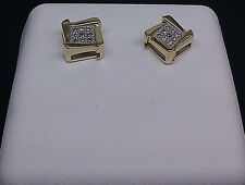 10K Men's/Ladies Yellow Gold Uniquely Designed Earring With 0.05CT Diamond