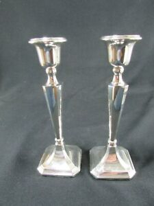 Two Antique Matching Silver Candlesticks c.1914