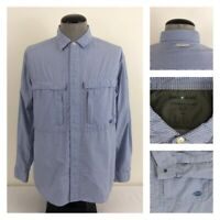 ExOfficio Insect Shield Mens S Blue White Check Mesh Vented Snap Button Shirt