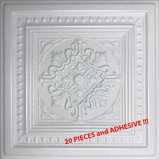 """Decorative Styrofoam Ceiling Tiles, 20"""" x 20"""" PESCARA White 20 PCS with GLUE !!!"""