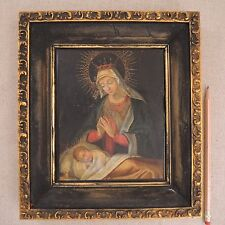 Antique Madonna and Child Painting Religious Icon Oil Panel Italian 19th Century