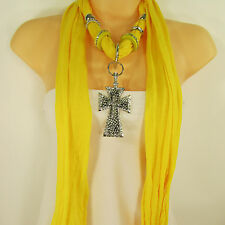 Women Scarf Yellow Fabric Fashion Long Necklace Big Silver Pendant Cross Charm