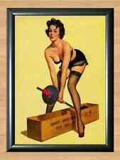 Gil Elvgren Gym Weights fail Retro Pinup Girl A4 Print Poster Vintage Photo