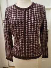 GRACE Brown & Pink Houndstooth Zip Front Sweater, P/L