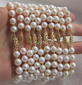 wholesale 10pcs 8-9mm 7.5-8inch white akoya pearl bracelet 14K Gold Clasp