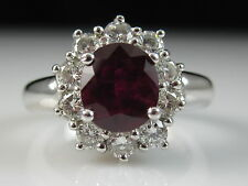 18K Ruby Diamond Ring Princess Diana White Gold Red Fine Jewelry Size 4.5 $5500