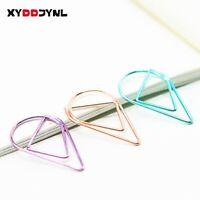 10 Pcs Cute Kawaii Metal Bookmarks Creative Water Drop Paper Clips Book Markers