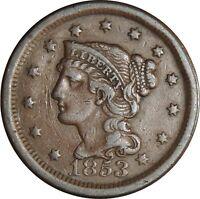 1853 1C Braided Hair Large Cent  VF+ Details  (050221310)