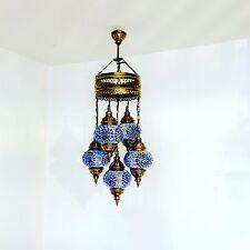 Stile Bohemien, marocchina, Blue 5 Lampada Sultano Plafoniera. spediti DA UK.
