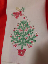 "Vintage Hand Embroidery Cross-stitch Linen 13""x19"" Finger Tip Towel Christmas"