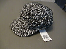 Collection XIIX Chevron Studded Military Cap, Black/Ivory, One Size