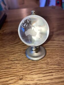 """Vintage  Glass Miniature Library Globe with Metal Base 2-1/2"""" T"""