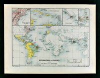1902 Oxford History World Map Exploration Colony America Africa India Columbus
