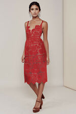 For Love & Lemons Gianna Midi Dress in Red Lace SIZE S NWOT