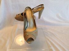 Anne Klein ladies taupe leather pep toe slingbacks in size 6.5 medium