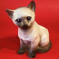 "SIAMESE CAT PLANTER VINTAGE NAPCO #6718 HAND DECORATED 5 1/2""H TAN BROWN"