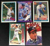Greg Maddux - 5 Cards, 1988-1993 - Donruss, Topps, Fleer, Studio - Cubs, Braves