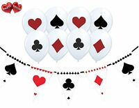 Bundle Card Suit Print Balloons Pack of 4 Poker Themed+ Bunting Banner 15 flags
