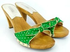 Michael Kors Sandal Women's Sz 9 M Green Polka Dot Bow Wood Platform Heel Slides
