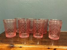 (8) Pretty Clear Pink Hobnail Goblets / Glasses / Vases Wedding Shower