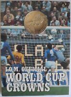 ISLE OF MAN 1 CROWN 1982 STERLING 925 SILVER WORLD CUP SPAIN BU COIN MINT FOLDER