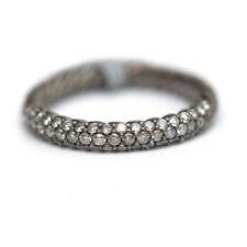 NWT DAVID YURMAN Small Color Pave Diamond Band Cabled Rhodium Silver Ring 6.25