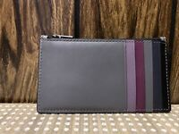 NWT Coach  ZIP CARD CASE IN COLOR-BLOCK LEATHER 91241 Gray Multi