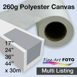 """Matte Polyester Inkjet Canvas 260gsm x 30m rolls Sizes 17""""- 44"""" *Free Shipping"""