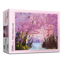 """Jigsaw Puzzles 500 Pieces """"Cherry blossom road"""" Poster Included"""