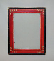 Old Antique Vtg Ca 1880s Eastlake Wooden Picture Frame Original Red Black Paint